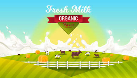 Milk farm vector landscape with, grazing cows, fence, green hills, sun, red ribbon. Organic farming illustration with milk splash, fields, haystacks, morning sky. Agriculture background for packages