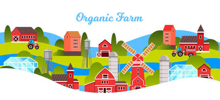 Organic farm vector illustration with village view, mill, barn, tractor, greenhouse. Agriculture farming concept in flat style with village red buildings, water tower, river, trees. Isolated on white