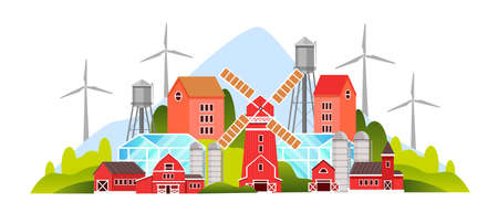 Organic farm illustration with village houses, mill, barn, wind turbine, green hills. Rural farming concept in flat style with eco village, greenhouse, cottages, water tower. Agriculture smart city