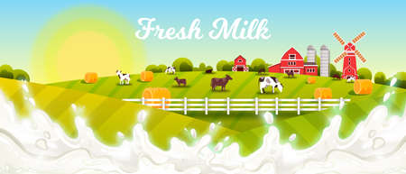 Milk farm vector illustration with splash, green fields, cows, haystacks, barn, mill, rising sun. Farming rural landscape with fresh milk, livestock, pasture, village houses, morning sky in flat style