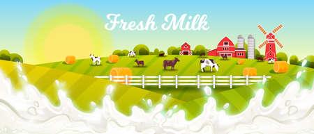 Milk farm vector illustration with splash, green fields, cows, haystacks, barn, mill, rising sun. Farming rural landscape with fresh milk, livestock, pasture, village houses, morning sky in flat style