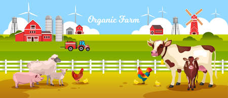 Organic farm landscape with cow, pig, sheep, lamb, chicken, rooster, fence, tractor, field, barn. Rural landscape with farming animals, wind turbine, mill, water tower. Agriculture vector background Vettoriali