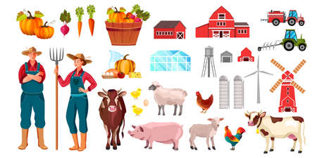 Organic farm set with man, woman, cow, rooster, vegetables, pig, sheep, tractor, buildings. Village illustration set in cartoon flat style with animals, barn, water tower, farmer, mill, food, products Vettoriali