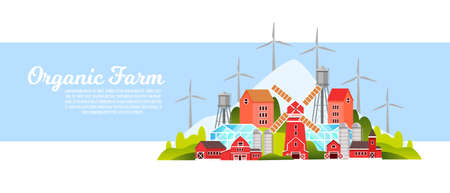 Organic farm landscape with mill, village houses, wind turbines, barn, hills, green trees. Farming eco city illustration in flat style with buildings, copy space for organic products shops, web pages Vettoriali
