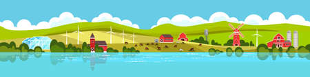 Rural panoramic landscape with European village, river bank, hills, houses, mill, wind turbines. Farm rural view with barn, greenhouse, field, livestock. Horizontal country landscape in flat style