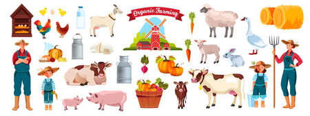 Farm set with family, cow, pig, goat, village animals, haystack, birds, dairy products, vegetables. Countryside rural collection in flat style with farmer family, food, rabbit, rooster, milk bottle