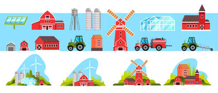 Farm village collection with mill, barn, tractor, greenhouse, wind turbine, solar panel, red houses. Farming rural set with village buildings, water tower. Eco city concepts in flat style, isolated
