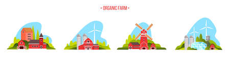 Organic farm city set with mill, barn, wind turbine, village houses, water tower. Farming vector collection in flat style isolated on white with red buildings, green hills. Eco city concept
