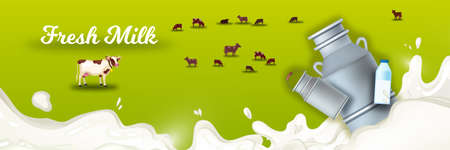 Milk farm background with grazing cows, splash, can, bottle, green field. Natural farming illustration with milk, livestock, meadow. Fresh dairy products concept for packages and advertisements