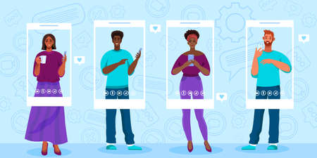 Video call or conference vector illustration with young multi-national people standing with smartphones. Virtual meeting and online communication banner.Video call concept with young diverse students