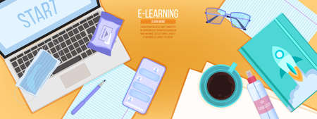Online education or virtual university vector concept with safe home workplace flat lay, laptop, smartphone, mask. Internet school or digital courses banner. Online education background with sanitizer Vektorové ilustrace