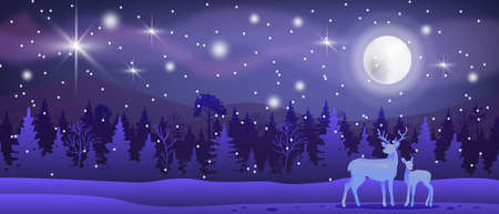Christmas winter vector landscape with snow, forest, reindeers, moon, night sky, stars. North nature x-mas background with pines silhouette, mountains. Winter minimal landscape in blue colors, aurora Ilustração