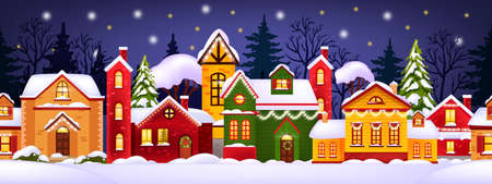 Seamless Christmas winter illustration with decorated houses, snow, town, trees silhouette. Holiday x-mas background with village street, drifts, night sky, stars. Christmas houses facade banner