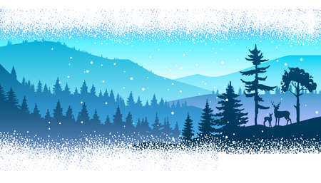 Winter panoramic landscape with forest outline, pine trees, blue sky, hills, mountains. Wild nature background with panoramic view, reindeer silhouette, snowfall. Winter horizontal north landscape