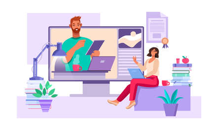 Online education and webinar concept with tutor, young student, laptop, books, diploma. Virtual meeting or training illustration with teacher and woman working at home. Online education flat banner Stock fotó - 155872935