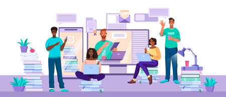 Vector illustration with diverse students working and learning in internet at home. Online education and teamwork concept with tutor, laptops, screen,young people.Diverse students communication banner Stock fotó - 155873687
