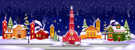 Winter Christmas vector houses illustration with town in snow drifts, night sky, x-mas tree. Holiday horizontal background with multi-colored buildings,street lights.Winter fairy-tale houses postcard Ilustração