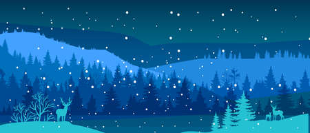 Winter vector landscape with snow, deer silhouette, river, forest outline, hills. Christmas nature background with woodland, pine trees, night sky. North winter landscape horizontal flat banner