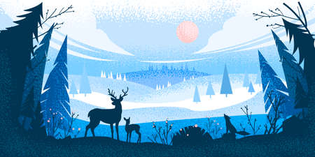 Winter forest landscape with reindeer silhouette, pine trees, hills, fox, sky, clouds. Christmas holiday background with woodland view, animals, bushes. Winter vector wild nature flat landscape