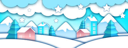 Winter vector paper cut landscape with toy Santa village, mountains, snow, pine trees. Christmas holiday craft background with small houses, drifts, clouds, stars. X-mas winter flat landscape banner