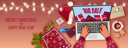 Christmas holiday sale vector illustration with winter decorations, laptop, hands. X-mas online shopping banner with wallet, card, gift bag, Santa hat. Christmas season sale top view with presents 向量圖像