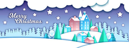 Christmas paper cut winter landscape with holiday city, snow drifts, forest outline, stars, clouds. Holiday x-mas background with houses,pine trees, night sky.Season banner with craft winter landscape