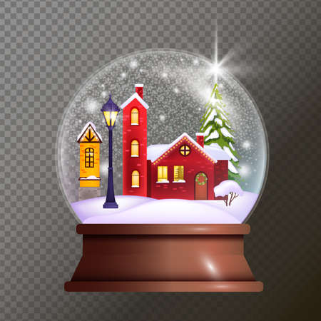 Christmas snow ball illustration with toy house, street light, pine, drifts. X-mas holiday vector glass globe with fairy tale village on transparent background.Realistic snow ball with small buildings Stock Illustratie