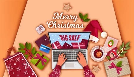 Christmas holiday sale offer banner with top view laptop, hands, gift boxes, Santa hat, bag. X-mas season online shopping illustration with presents, wallet, card. Vector Christmas sale background