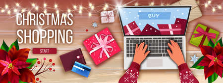 Christmas and Happy New Year shopping sale background with laptop screen, hands, gift boxes. Winter vector holiday e-commerce banner with table top view, poinsettia. Christmas shopping flat lay Ilustração