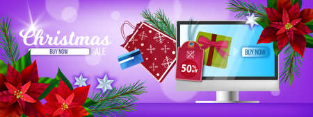 Christmas winter online shopping banner with poinsettia, computer screen, bag, gift box.Holiday season sale background with x-mas branches, presents, payment card.Christmas shopping offer landing page