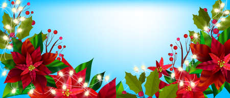 Christmas winter floral banner with poinsettia leaves, holly, red berries. Holiday season x-mas plants illustration with garland lights, flowers on blue background. Floral backdrop with poinsettia