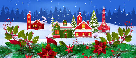 Christmas vector winter houses illustration with small village, forest, snow, fir branches. X-mas holiday landscape with decorated buildings, pine trees, poinsettia leaves. Christmas houses postcard
