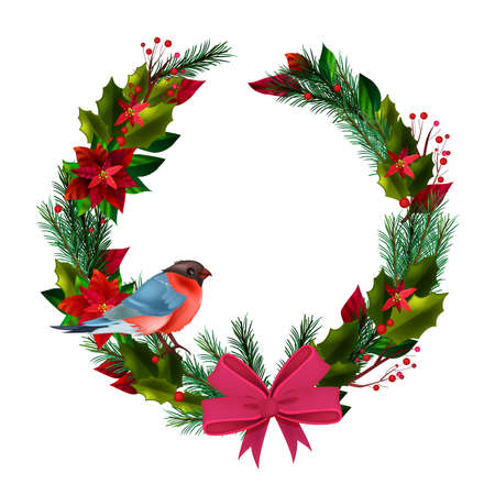 Christmas winter circle wreath with bullfinch, evergreen leaves, poinsettia, bow isolated on white. X-mas holiday decoration with fir branch, red berries, flowers, bird. Christmas wreath postcard