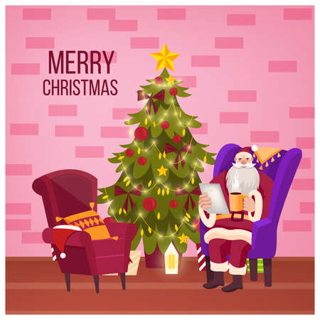 Christmas and happy New Year room interior with Santa in armchair, decorated x-mas tree, brick wall. Vector holiday festive background with fir, star, pillow.  Christmas traditional room postcard Иллюстрация