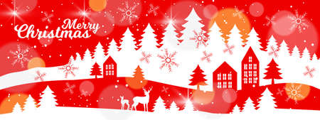 Christmas vector winter landscape with pine forest outline, houses, snowflakes, deers silhouette. X-mas holiday background in white and red with firs, buildings. Traditional winter landscape postcard Иллюстрация