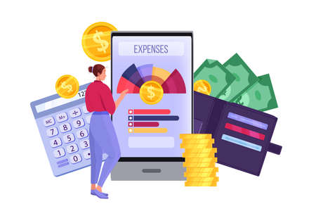 Personal budget planning and monthly expense accounting illustration with smartphone, woman, dollars. Finance audit and tax payment concept with coins, wallet. Vector budget planning and analysis Vektoros illusztráció