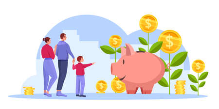 Income growth or return on investment revenue vector concept with happy successful family, money plants. Profit increase economic illustration with piggy bank, coins. Income growth cartoon banner