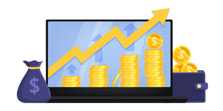 Revenue and income growth finance vector illustration with laptop, money bag, coin stacks,pointing up arrow. Profit increase or return on investment economic concept. Income growth with wallet,dollars