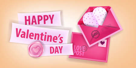 Valentine's Day pink romantic vector background with envelopes, paper heart postcard, lettering, sealing wax. Happy holiday love greeting card 3D design.