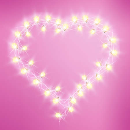 Valentines Day heart-shaped love lights pink background with bulbs, garland. Holiday romantic bright frame, shop electric signage design. Ilustracja
