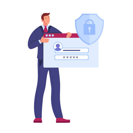 Login password form vector flat security data protection illustration with standing man, shield, lock. Digital safe mobile account information concept,customer support character. Password form clipart