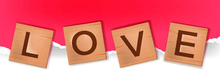Vector tiles alphabet word game, wooden block letters spelling love in English. Cube square romantic engraved puzzle illustration on paper background. Valentines Day creative postcard, wooden letters Ilustracja