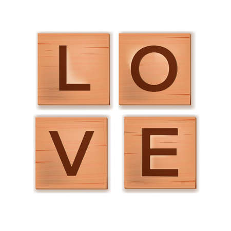 Wooden cube block letters English alphabet, word game spelling love isolated on white. Romantic creative postcard with engraved brown puzzle. Valentines Day simple wooden letters icon with shadow