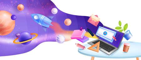 Online education vector concept, internet school, video lectures, training space 3D background. Web home office, distant tutorial, classes concept, laptop, planets, rocket. Online education design