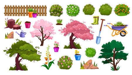Spring garden nature vector cartoon icon set with flower pot, blossom trees, fence, flowers, bushes. Summer backyard green gardening collection, shovel, equipment. Spring garden environment objects