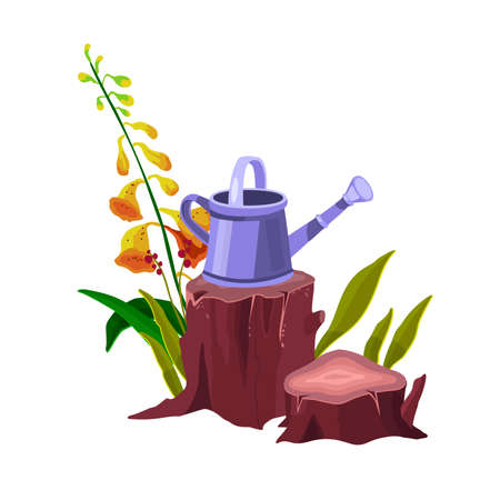 Tree stump vector isolated cartoon icon with bell plant, watering can, trunk, green leaves, roots. Forest nature gardening illustration with cut tree, flower. Tree stump outdoor backyard design