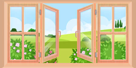 Wooden opened spring window vector landscape view from house, flat nature illustration, bushes, green hills. Clean glass, blue sky, distant trees exterior scene. Big opened window outdoor illustration