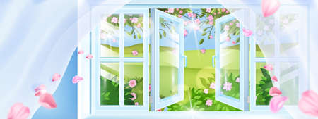 Opened plastic spring window vector background, petals, curtains, green hills, countryside view. Fresh rural air floral aroma breeze illustration, pink flowers, leaves. Opened window frame landscape