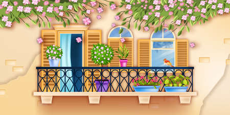Spring old town vector balcony window facade illustration, blossom sakura branches, house plants, brick wall. Vintage architecture exterior background, shutters, glass, flowers. Italian balcony window