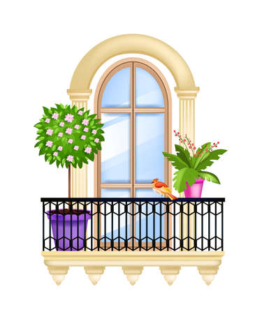 Vector house window, balcony facade spring illustration, blossom tree, green home plants, iron railing. Old town vintage architecture arch element isolated on white. Classic balcony window front view